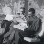 Jan Pruszyński (po lewej) i Wacław Sitkowski w 1956 roku, podczas 3. miesięcznego pobytu szkoleniowego w Paryżu